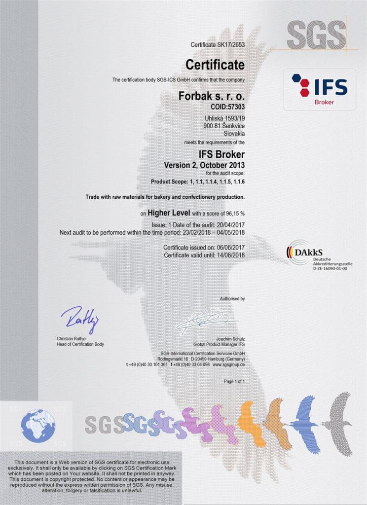 Certifikát SGS Forbak s.r.o.